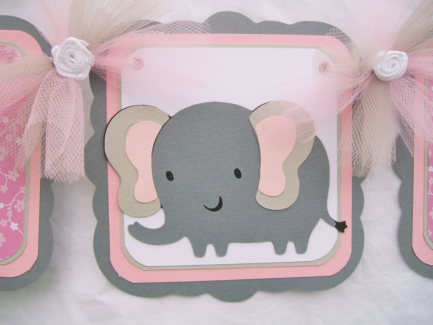 elephant baby shower banner its a girl pink grey white elephant baby
